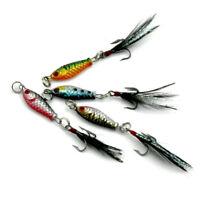 4Pcs Hard Metal Fishing Lures Small Minnow Lure Bass Crank Bait Tackle Hooks lot