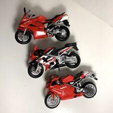 Set Of 3 Maisto Red Motorcycles Ducati 999s Suzuki GSXR Honda VFR Set