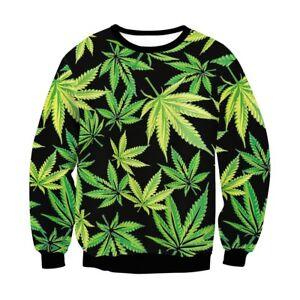 Women's cotton Cannabis Marijuana Hemp Leaf  Print  pullover top