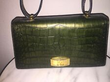 ESCADA EMBOSSED CROCK/ALLIGATOR AVOCADO GREEN VINTAGE  HANDBAG