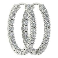 Inside Out Hoops Earrings Natural Diamond SI1 G 2.50 Ct 14K White Gold Prong Set