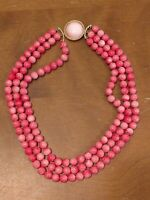 MARVELLA SIGNED BEAD NECKLACE 3-Strand PINK Mid-Century