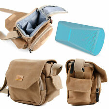Tan-Brown Medium Canvas Carry Bag for Logitech X300 Portable Speaker