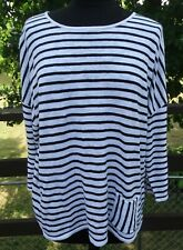 J.Jill Large 3/4 sleeve knit top, white/black stripes, linen/cotton