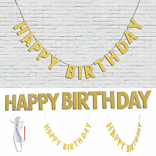 3M Happy Birthday Bunting Garland Gold Alphabet Party Hanging Banner Décor