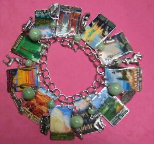 NATIONAL PARKS- Altered Art Charm Bracelet-Handmade-OOAK Green & Silver