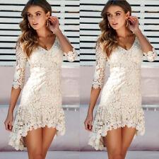Summer Womens Lace Boho Maxi Dress Evening Cocktail Party Beach Dress Sundress