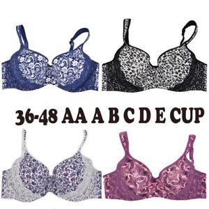 Plus Size Bra 36-48 AA ABCDE Women Push Up Bra Brassiere Light Padded Lingerie