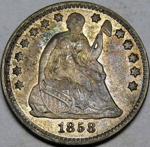 1858 Seated Liberty Half Dime Choice AU... So Very Nice and Original, Neat Coin!