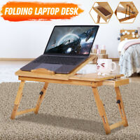 Portable Foldable Laptop Desk Notebook Table Bamboo Adjustable Stand Bed Tray
