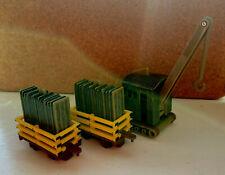 Vintage 1999 2001 Thomas & Friends ERTL Crane And 2 Slate Trucks Plastic Train