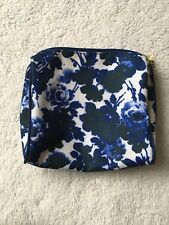 Estee Lauder Make Up Toiletries Bag Blue White Floral Used