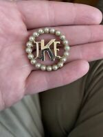 Vintage IKE Brooch Pin Gold Tone Faux Pearls President Dwight Eisenhower 1950s