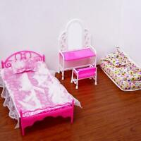 Fashion Pink Bed Dressing Table Chair Set For Dolls Furniture Bedroom I4M0