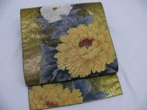 Black & Gold Silk Japanese ROKUTSUU FUKURO OBI w/LARGE BOTAN Q138