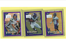 2010 Topps Chrome Minnesota Vikings (9) Card Purple Refractor Team Set! Favre!