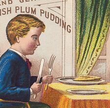 1800's Atmores Mince Meat Plum Pudding Pie Boy Victorian Advertising Trade Card