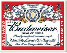 Budweiser King of Beers Beer Label Retro Metal Tin Sign MADE in the USA