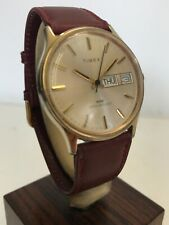 Timex Vintage Gents Mechanical Watch With Burgundy Leather Strap