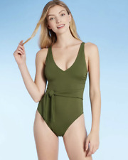 Women's Plunge Tie-Front Wrap One Piece Swimsuit - Shade Shore Palm Green MEDIUM