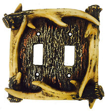 Deer Antler Double switch Cover, Electrical Outlet Switch Plate Cabin Decor 4132
