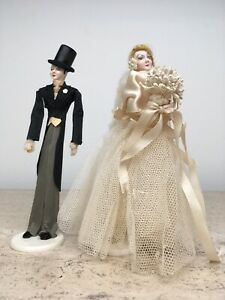 Vintage Wedding Party Cake Topper Bride Groom Dolls Crepe Paper Celluloid 1930's