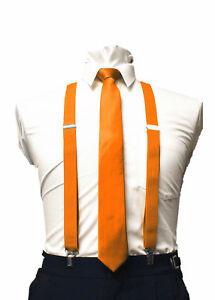 Mens Ties skinny tie and suspenders set men's clip-on back longer necktie prom