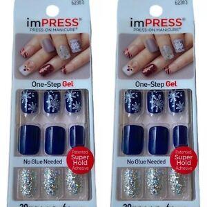 2x NEW Kiss Nails Impress Press Manicure Short Gel Dark Blue Snowflake Christmas