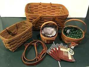 Longaberger Lot of 4 Signed Baskets, 2 w/ Liners, + Coasters + Leather Strap