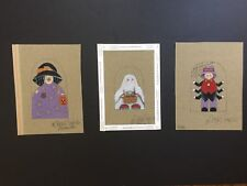Sandy Jenkins 3 Hand-painted Needlepoint Canvases Halloween Trick-or-Treaters