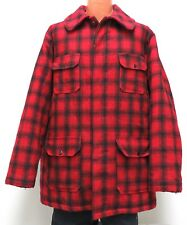 vtg Woolrich RIGHT RED BLACK PLAID Hunting Coat 48L Wool 48 LONG Mackinaw 70s us