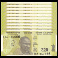 Lot 10 PCS, India 20 Rupees, 2019, P-New, UNC, 1/10 Bundle