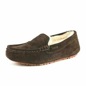 Women's Moccasin Slippers Faux Fur Suede Comfortable Slip On House Slippers