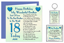 18th Brother Happy Birthday Gift Set - Card, Keyring & Magnet 18 Today Lots Love