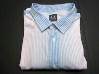 Armani Exchange Mens XXL Slim Fit Button Front Shirt Striped Pink Blue 2XL