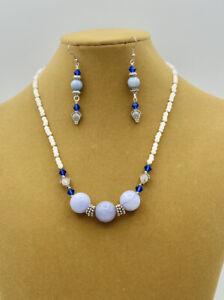 BLUE CHALCEDONY STONES & MILK GLASS Necklace & Earring Set