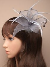 NEW Silver Grey fascinator clip pin fabric mesh flower feather wedding races