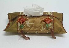 Chinese Brocade Tissue Box Cover w/Tassels Bamboo Zsc05