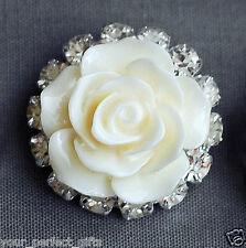 10 Rhinestone Button Crystal Ivory Resin Rose Hair Clip Wedding Invitation BT135