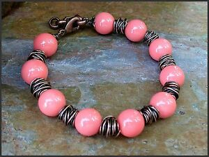 *PI*AAA Salmon CORAL genuine SHELL Pearl COPPER ~SPUN~ Adjustable BRACELET!