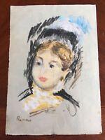 Original Pastel Masterpiece Painting Signed Renoir Impressionist Impressionism