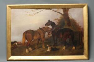GEORGE WRIGHT  Plough Team horses and a Dog in a Landscape, oil on canvas