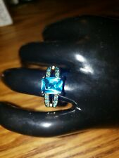 10kt yellow gold filled Aquamarine Crystal Ring Wedding Engagement size 7