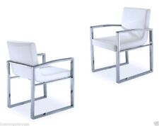 Arm Chair - Modern Dining Room Arm Chair - Polished Chrome - White Chair - Troia
