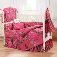 AP Fuchsia  8 Pc Girls Camo  Bedding Crib Set Comforter Bumper Pad Sheet + More