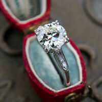 Antique Vintage Engagement Wedding Ring 2.15 Ct Round Cut Diamond 14k White Gold