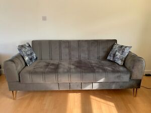 3 Seater Luxury Velvet Sofa Bed Recliner Back Couch with Two Cushions