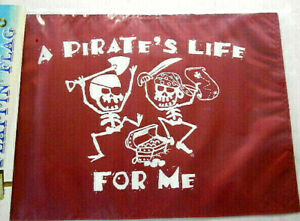 """A Pirates Life For Me 12"""" x 18"""" Two Sided 200denier Weather Fade Resist Flag USA"""