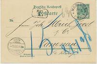 """DT.REICH """"MORINGEN"""" sehr selt. K1 5 Pf Kab.-GA-Postkarte n """"LANGNAU / BERN"""", CH"""