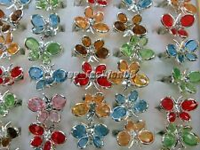 Wholesale jewelry 10pcs Butterfly Resin Crystal Rhinestone Silver tone Rings R46